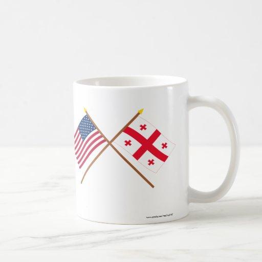 US and Georgia Republic Crossed Flags Mugs