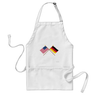 US and Germany Crossed Flags Adult Apron