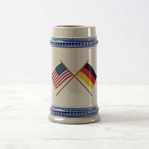 US and Germany Crossed Flags Mug