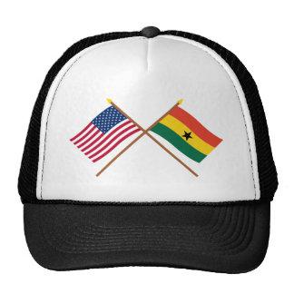 US and Ghana Crossed Flags Trucker Hat