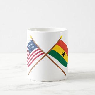 US and Ghana Crossed Flags Classic White Coffee Mug