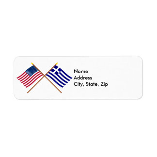 US and Greece Crossed Flags Label