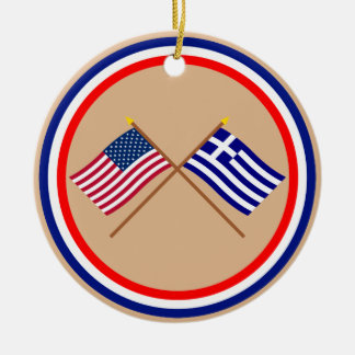US and Greece Crossed Flags Double-Sided Ceramic Round Christmas Ornament