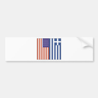 US and Greece Flags Car Bumper Sticker