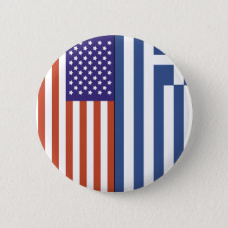 US and Greece Flags Pinback Button
