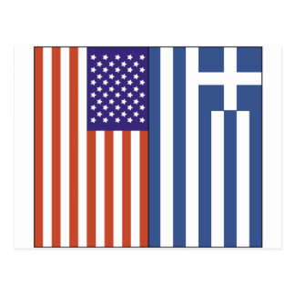US and Greece Flags Postcard