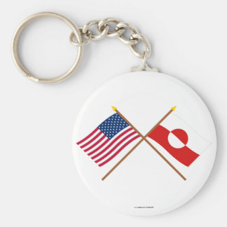 US and Greenland Crossed Flags Key Chain