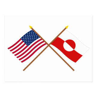 US and Greenland Crossed Flags Postcard
