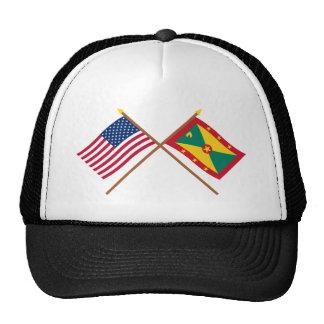 US and Grenada Crossed Flags Trucker Hat