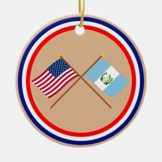 US and Guatemala Crossed Flags Ceramic Ornament