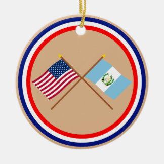 US and Guatemala Crossed Flags Ornaments