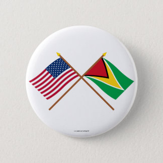 US and Guyana Crossed Flags Button