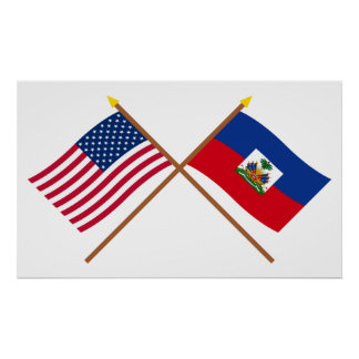 US and Haiti Crossed Flags Poster