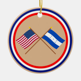 US and Honduras Crossed Flags Double-Sided Ceramic Round Christmas Ornament