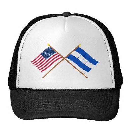 US and Honduras Crossed Flags Hats