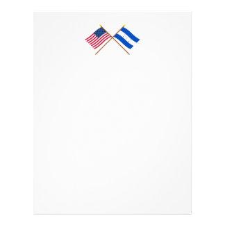 US and Honduras Crossed Flags Letterhead