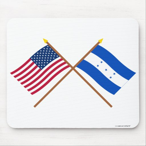 US and Honduras Crossed Flags Mouse Pad