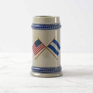 US and Honduras Crossed Flags Coffee Mug