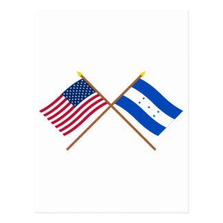 US and Honduras Crossed Flags Postcard