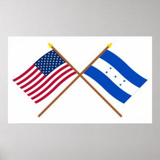 US and Honduras Crossed Flags Posters