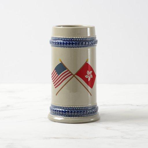 US and Hong Kong Crossed Flags Mug