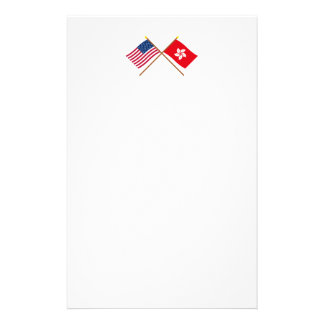 US and Hong Kong Crossed Flags Stationery Design