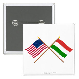 US and Hungary Crossed Flags 2 Inch Square Button