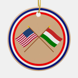 US and Hungary Crossed Flags Double-Sided Ceramic Round Christmas Ornament