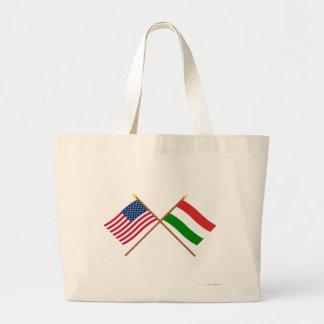 US and Hungary Crossed Flags Jumbo Tote Bag