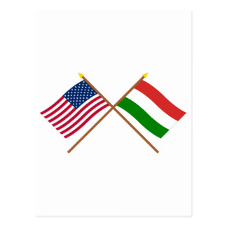 US and Hungary Crossed Flags Postcard