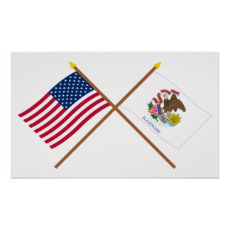 US and Illinois Crossed Flags Poster