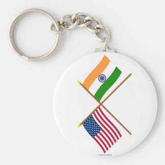 US and India Crossed Flags Basic Round Button Keychain