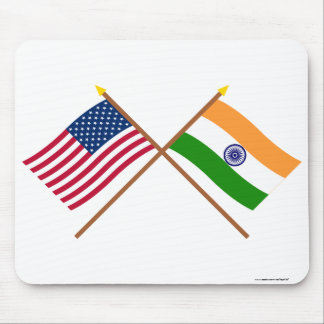 US and India Crossed Flags Mouse Pad