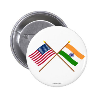 US and India Crossed Flags Pinback Button