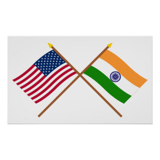 US and India Crossed Flags Poster