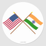 US and India Crossed Flags Sticker