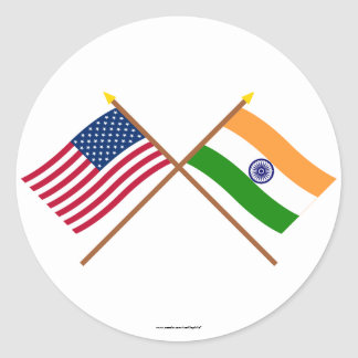 US and India Crossed Flags Classic Round Sticker