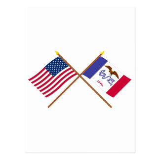 US and Iowa Crossed Flags Postcard