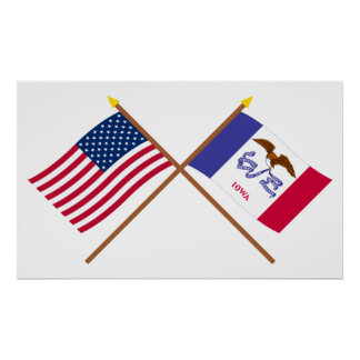 US and Iowa Crossed Flags Poster