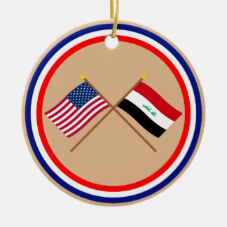 US and Iraq Crossed Flags Christmas Ornament