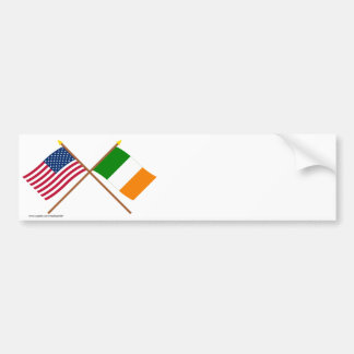 US and Ireland Crossed Flags Bumper Sticker