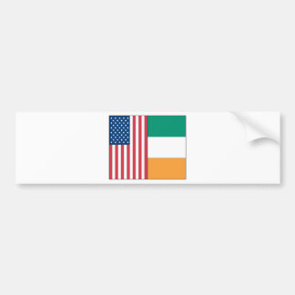 Us and Ireland Flags Car Bumper Sticker