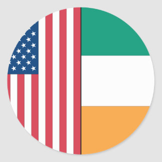 Us and Ireland Flags Round Stickers