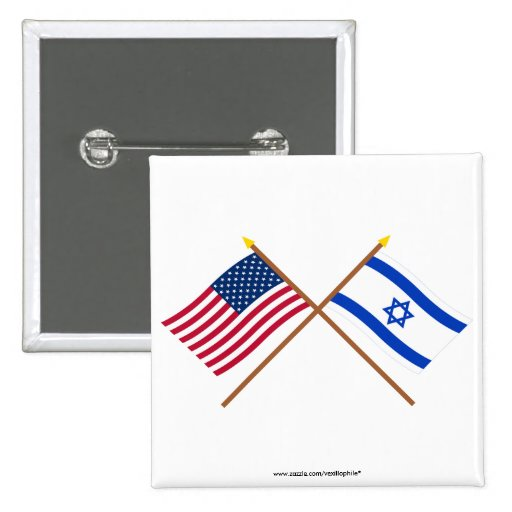 US and Israel Crossed Flags 2 Inch Square Button