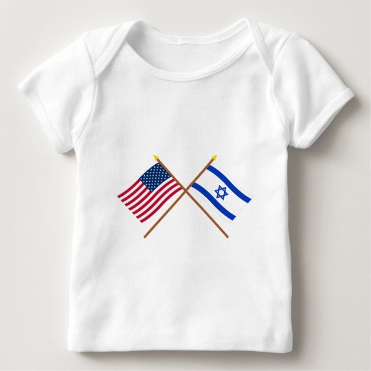 US and Israel Crossed Flags Baby T-Shirt