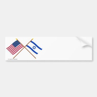 US and Israel Crossed Flags Bumper Sticker
