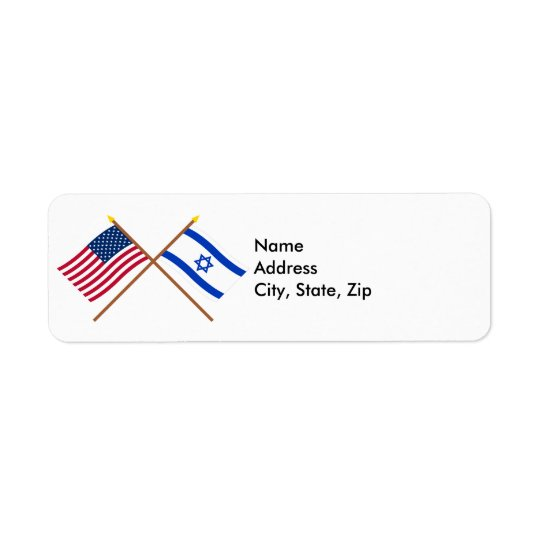 US and Israel Crossed Flags Label