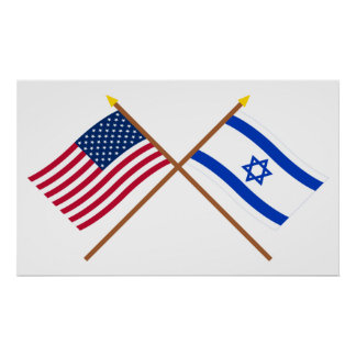US and Israel Crossed Flags Poster