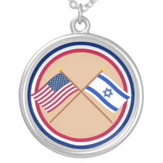 US and Israel Crossed Flags Round Pendant Necklace