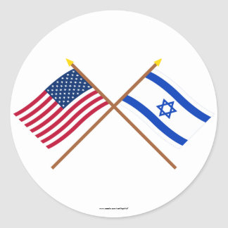 US and Israel Crossed Flags Round Sticker